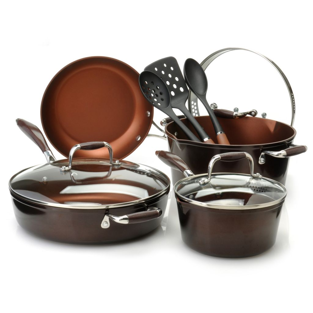 438-861 - Cook's Companion™ 10-Piece Cold Forged Aluminum Colored Cookware & Tool Set