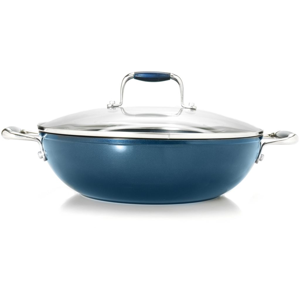 "438-866 - Cook's Companion™ 11"" Cold Forged Aluminum Colored Nonstick Wok w/ Lid"