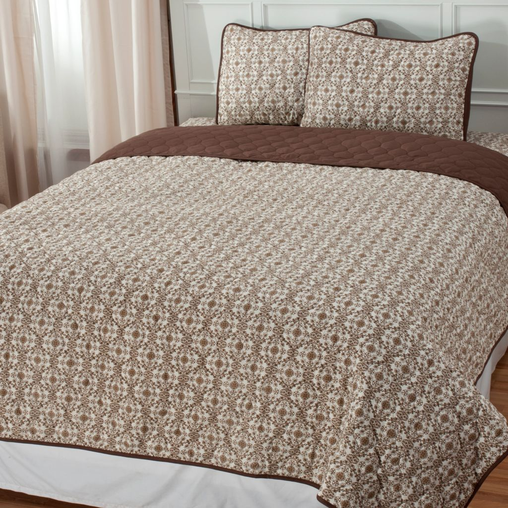 438-984 - Cozelle® Microfiber Floral Three-Piece Coverlet Set