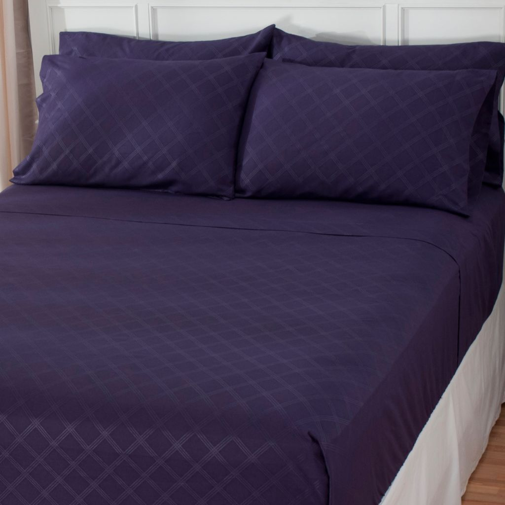438-985 - Cozelle® Microfiber Diamond Plaid Embossed Six-Piece Sheet Set