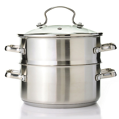 439-109 - Kevin Dundon Three-Piece Stainess Steel 3 qt Sauce Pot w/ Steamer & Lid