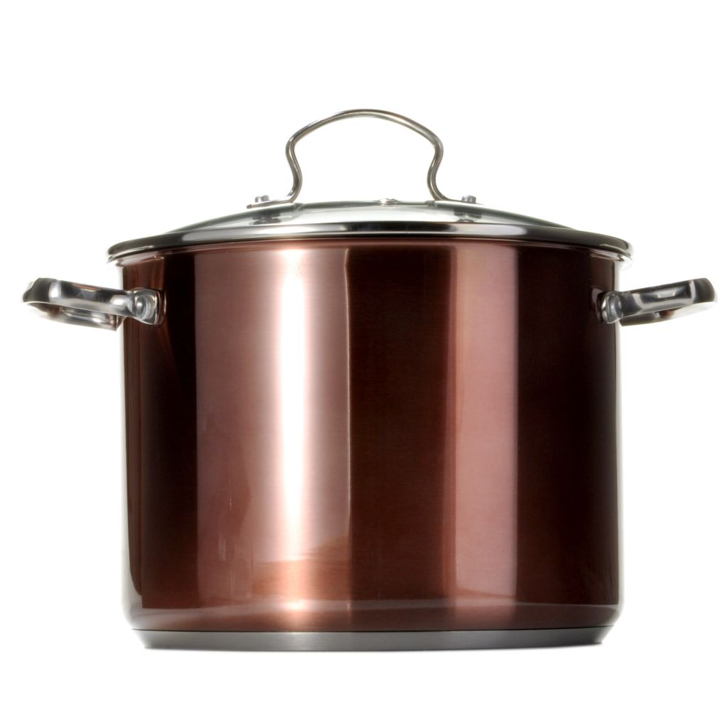 439-112 - Kevin Dundon Signature Collection Colored Stainless Steel 8 qt Stock Pot w/ Glass Lid