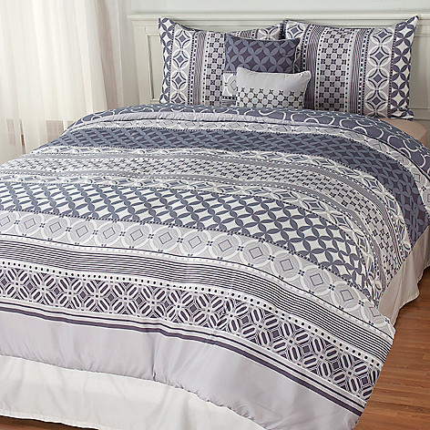 439-149 - North Shore Linens™ Multi Pattern Reversible Five-Piece Bedding Ensemble