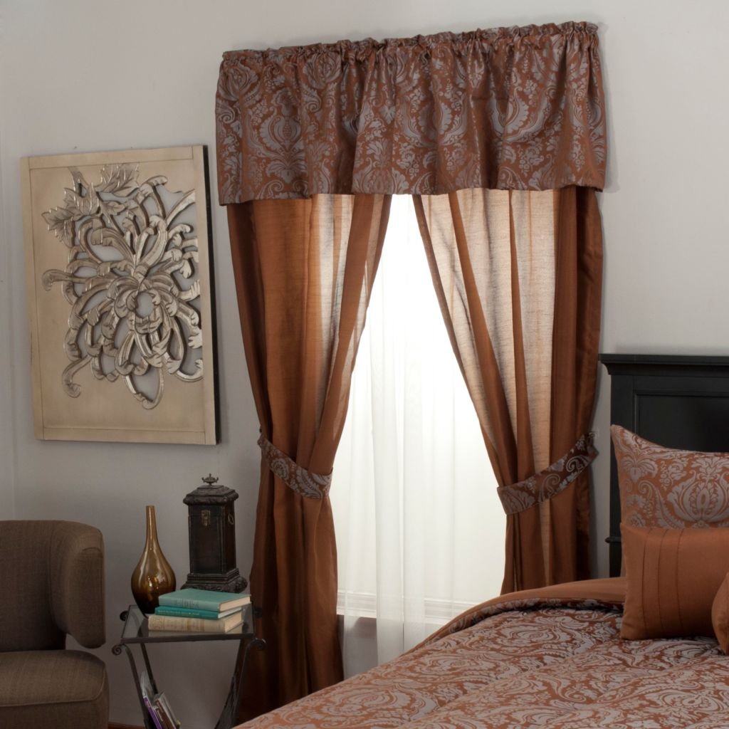 439-167 - North Shore Linens™ Floral Jacquard Five-Piece Window Set