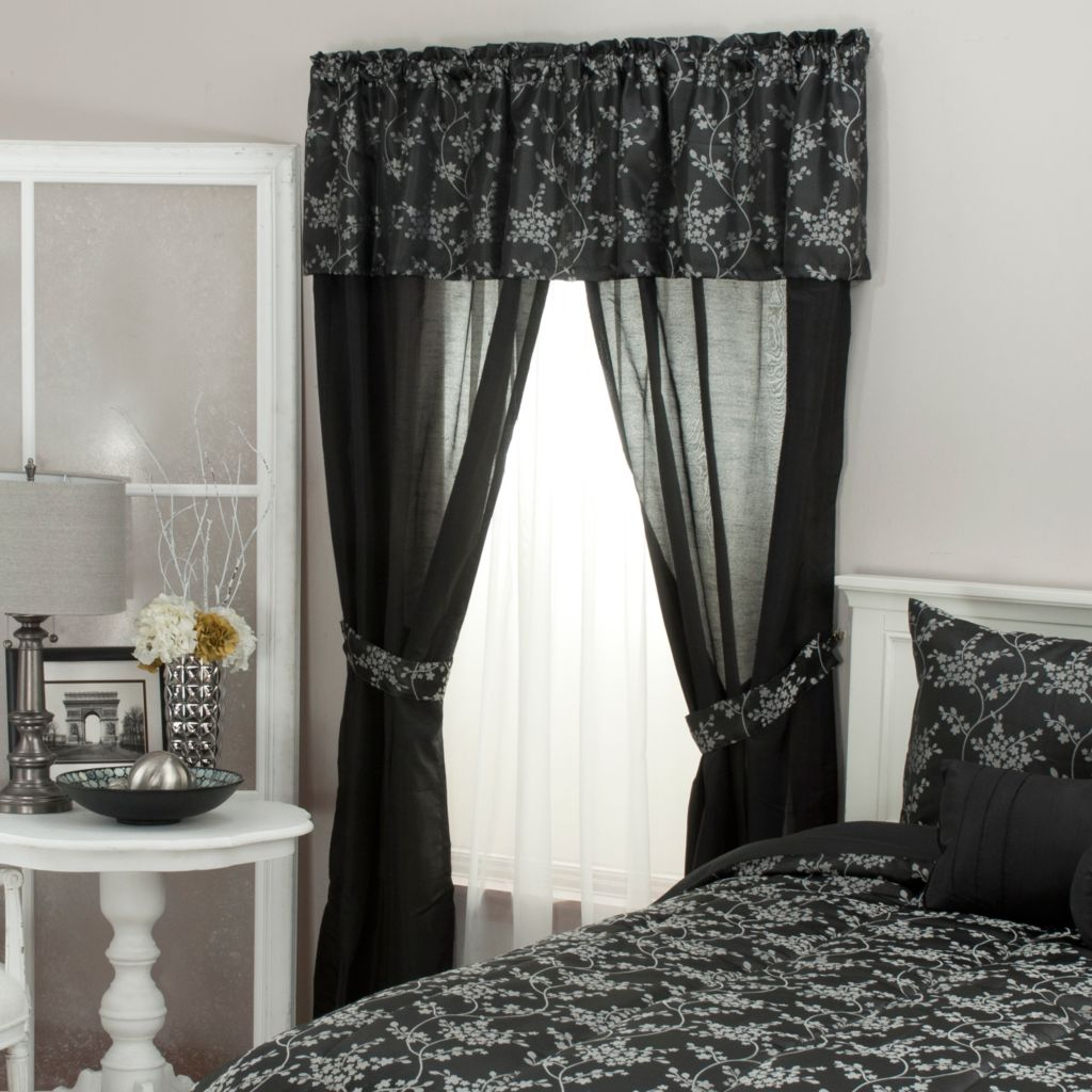 439-171 - North Shore Linens™ Dainty Floral Jacquard Five-Piece Window Set