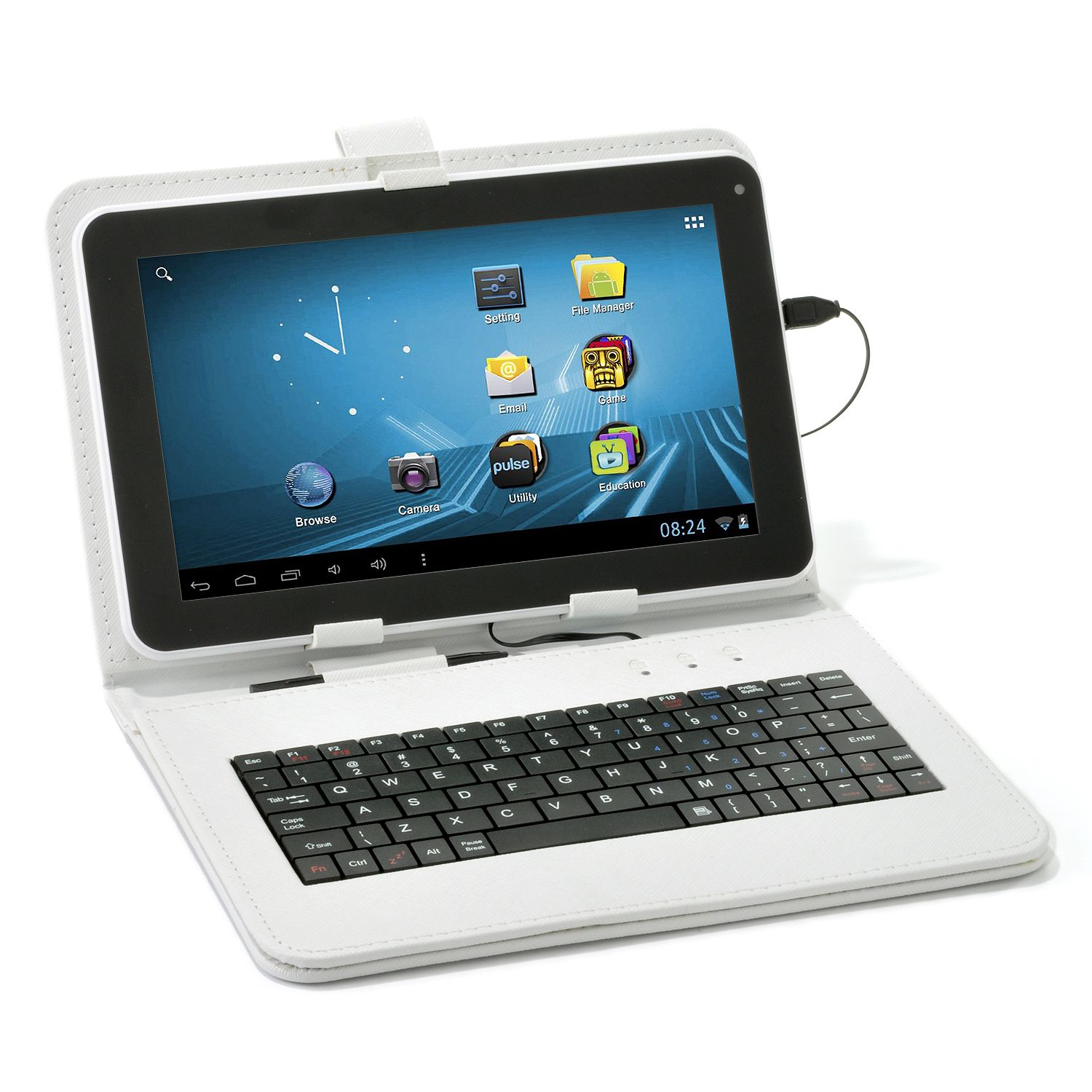 new micro usb keyboard folio cover stand case for 9 inch android tablet white ebay. Black Bedroom Furniture Sets. Home Design Ideas