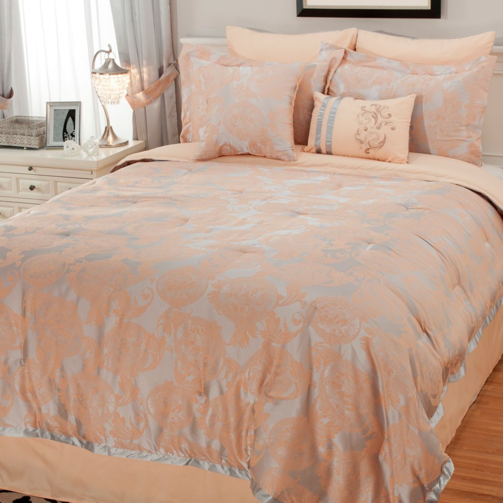 439-197 - North Shore Linens™ Damask Jacquard Eight-Piece Bedding Ensemble
