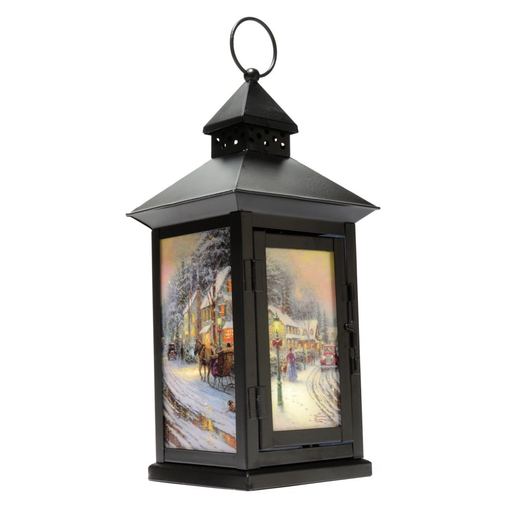 "439-213 - Thomas Kinkade 13.5"" Indoor Flameless LED Lantern w/ Self Timer"