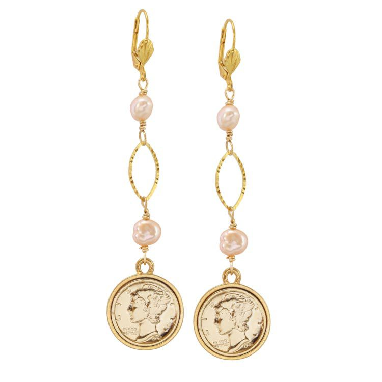 "439-276 - 1-3/4"" Mercury Dime Coin Gold-tone Oval Drop Earrings"