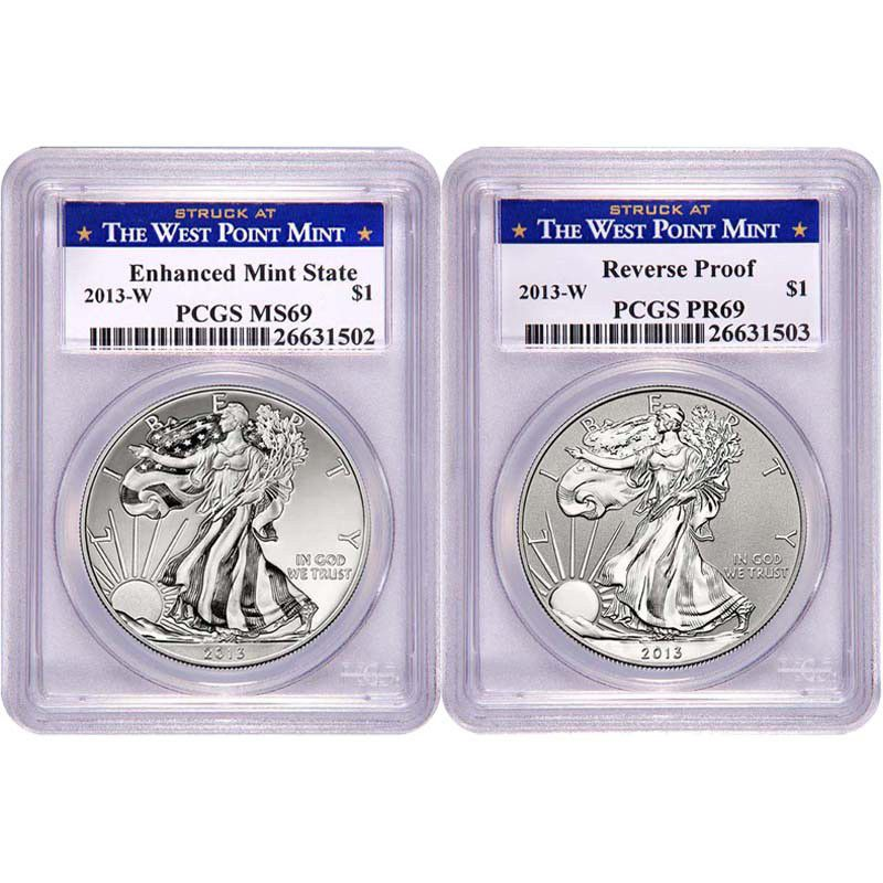 439-353 - 2013 Silver Eagle PR Reverse & MS Enhanced PCGS West Point Mint Set