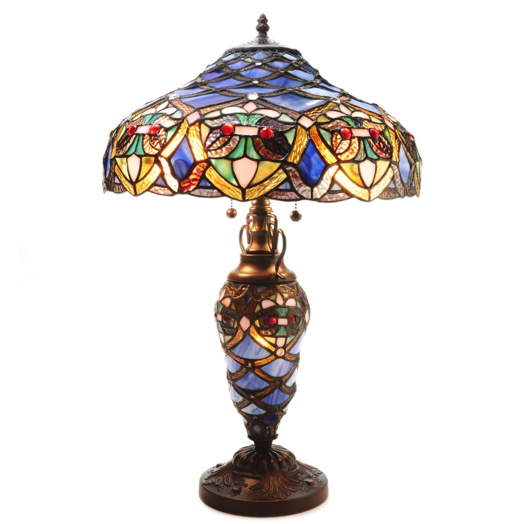 439-418 - Tiffany-Style Arielle Stained Glass Floor Lamp or Double Lit Table Lamp