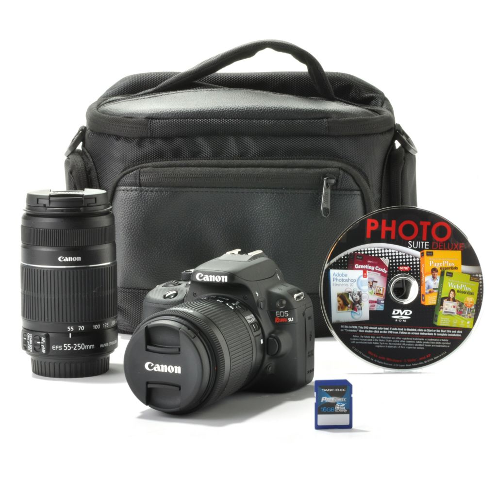 439-426 - Canon EOS Rebel SL1 18MP DSLR Camera w/ Two IS Lenses, Bag, 16GB SD Card & 4-Title Software