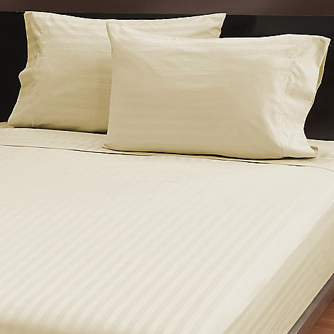 439-430 - North Shore Linens™ Four-Piece 500TC Cotton Damask Stripe Sheet Set