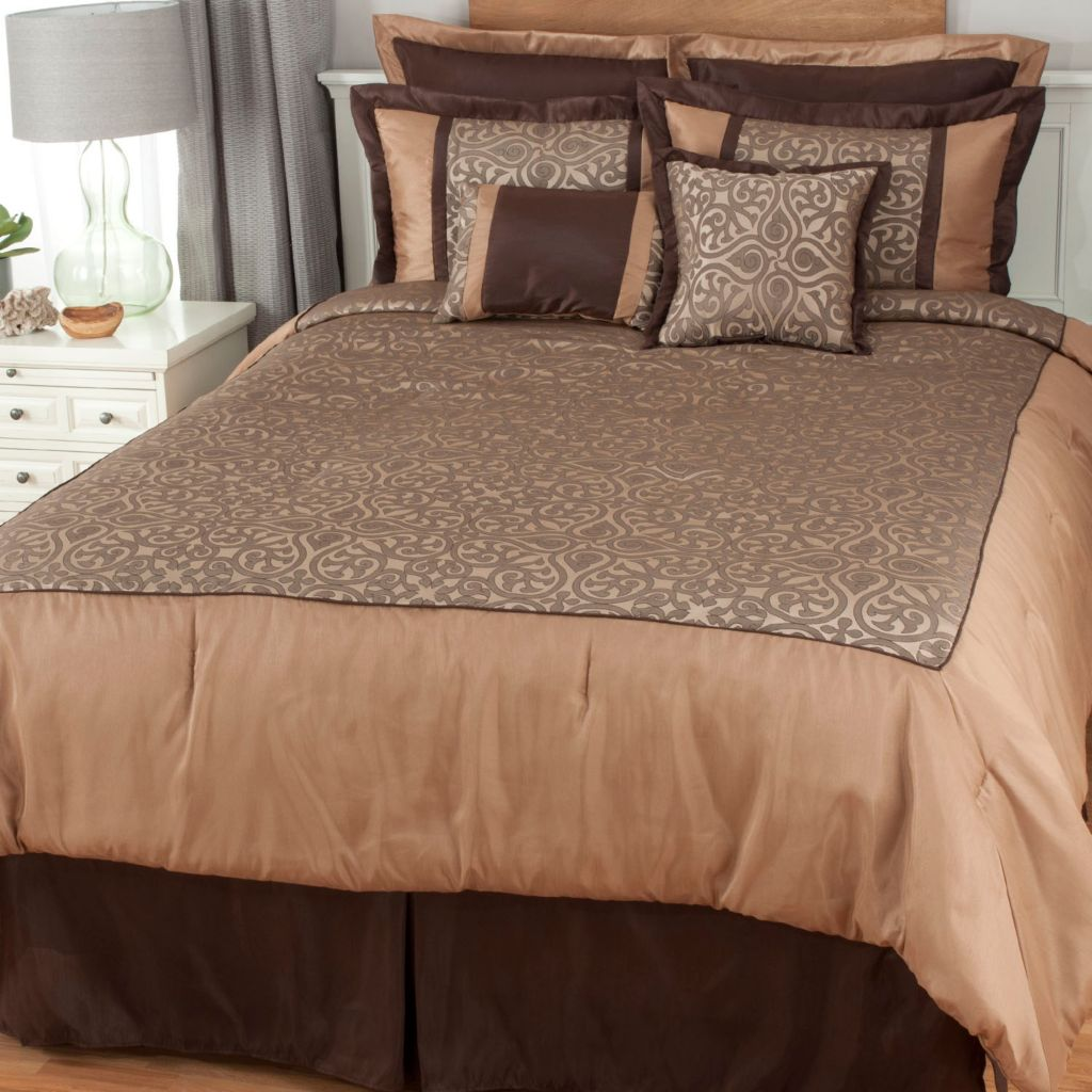 439-441 - North Shore Linens™ Scrollwork Jacquard Eight-Piece Bedding Ensemble