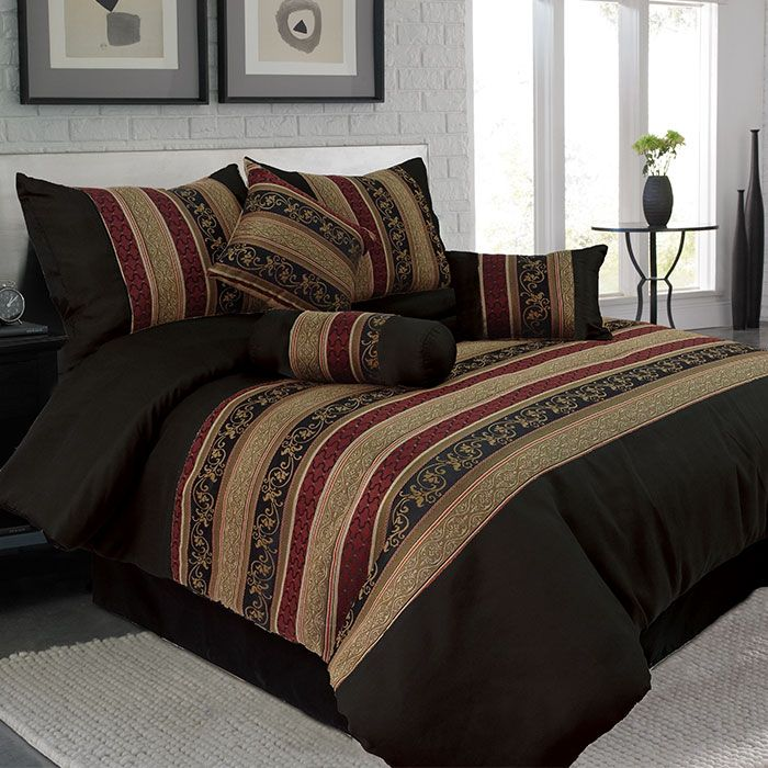 439-542 - Lavish Home Seven-Piece Black Comforter Set