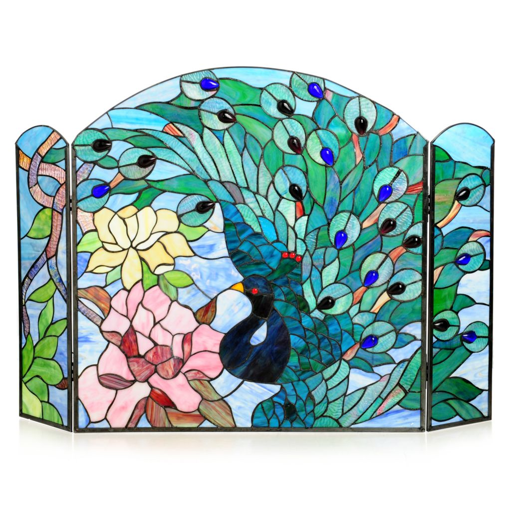 "439-547 - Tiffany-Style 27"" Fantastic Feodora Stained Glass Fireplace Screen"