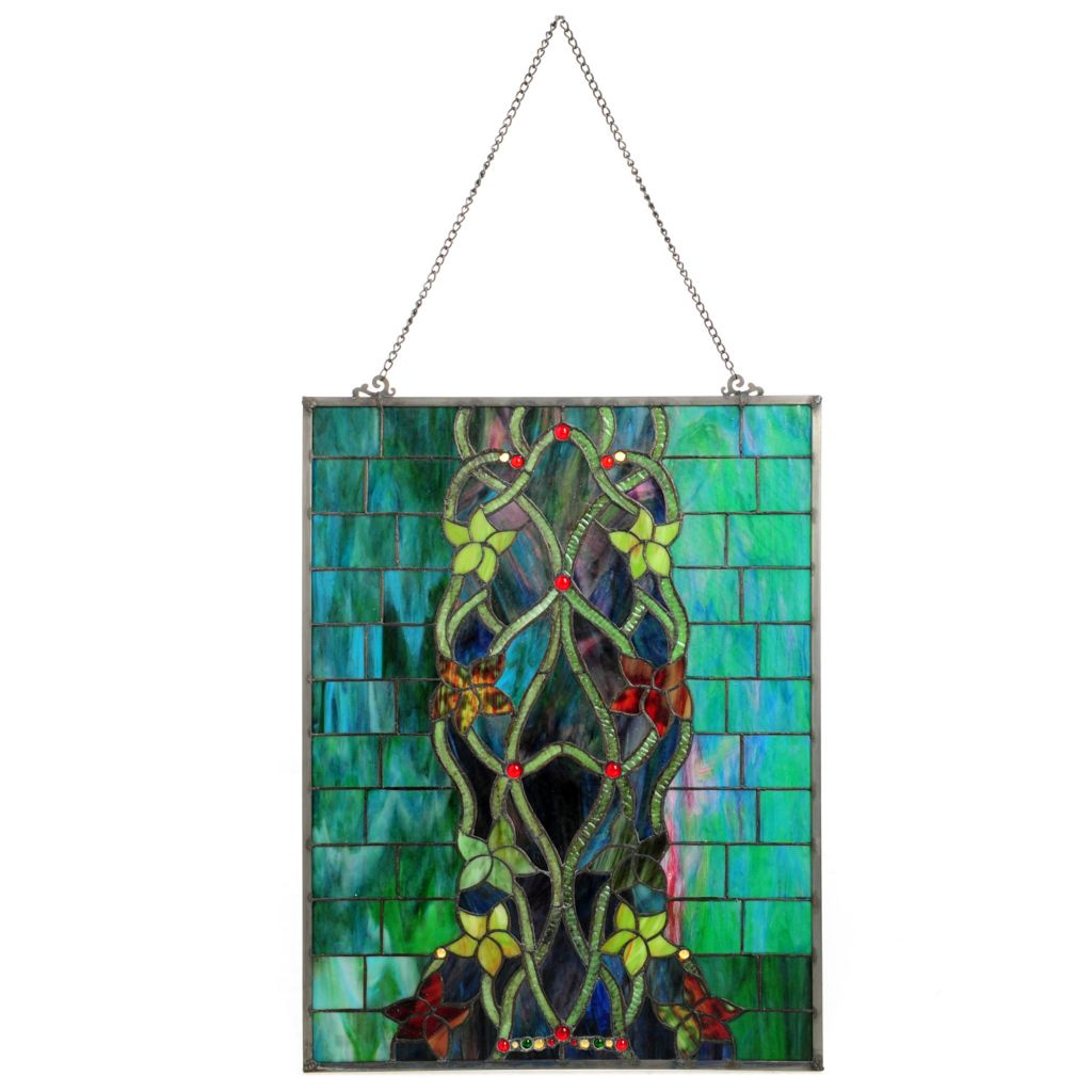 "439-550 - Tiffany-Style 24"" Hampstead Stained Glass Window Panel"