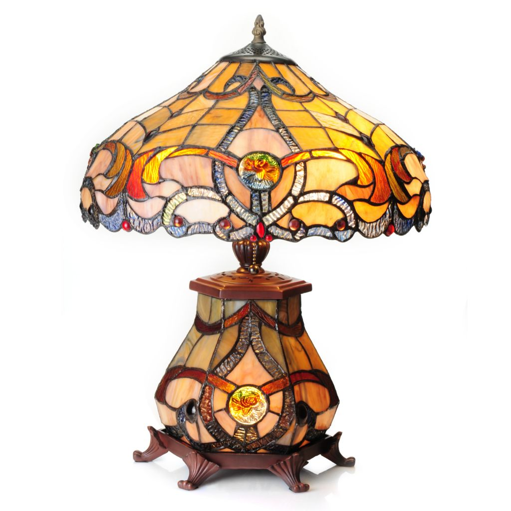"439-552 - Tiffany-Style 20.75"" Brandi Double Lit Stained Glass Table Lamp"