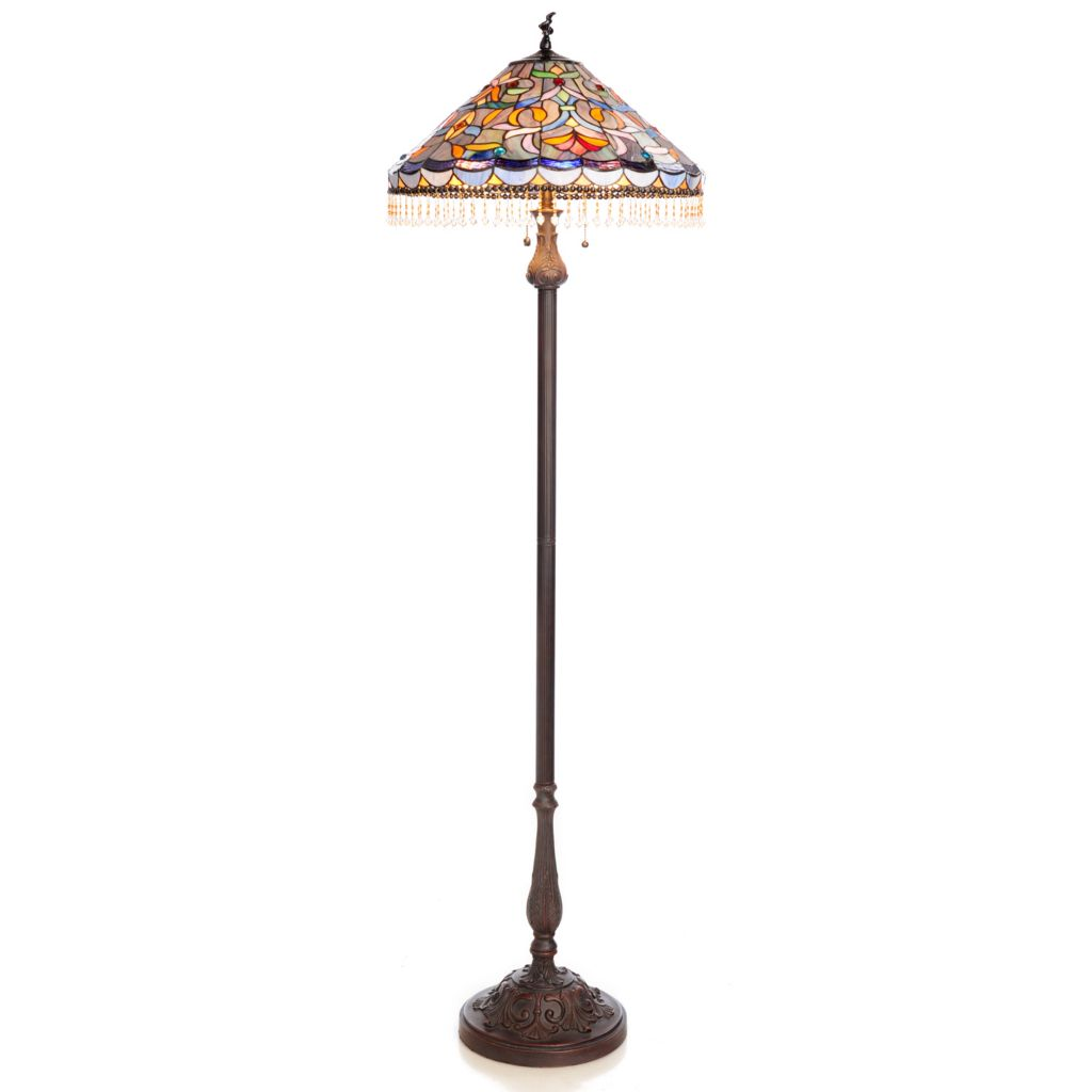"439-553 - Tiffany-Style 66"" Beaded Tendril Stained Glass Floor Lamp"