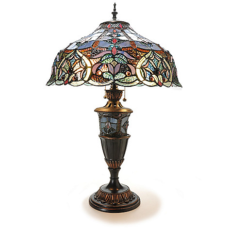 439-555 - Tiffany-Style 27.5'' Webbed Heart Double Lit Stained Glass Table Lamp