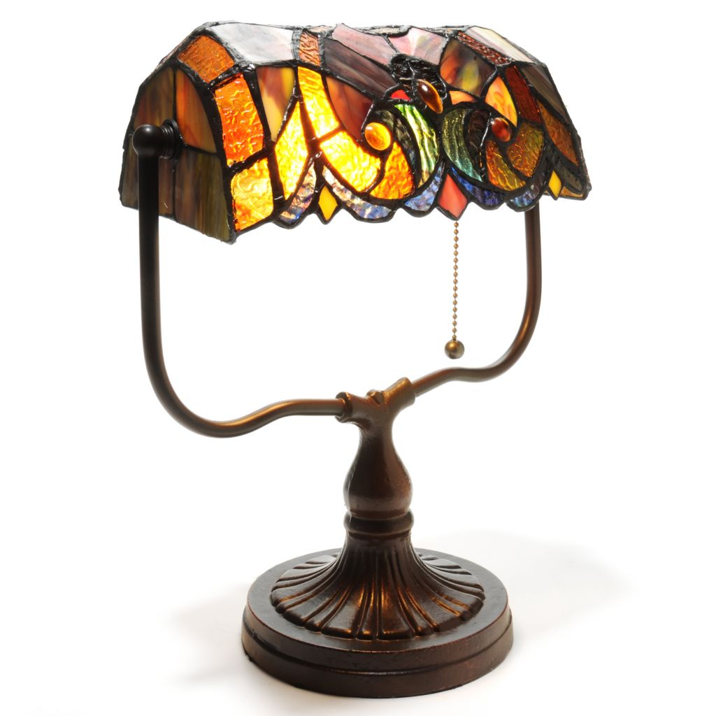 "439-556 - Tiffany-Style 13.5"" Halston Stained Glass Banker's Desk Lamp"