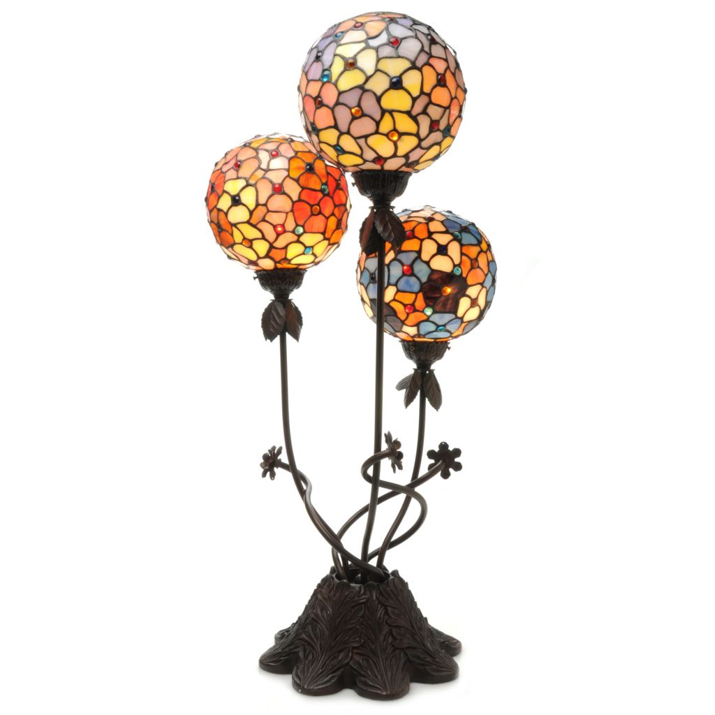 "439-560 - Tiffany-Style 33"" Three Globes Stained Glass Table Lamp"