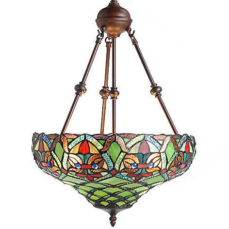 439-567 - Tiffany-Style 25'' Arielle Stained Glass Hanging Lamp