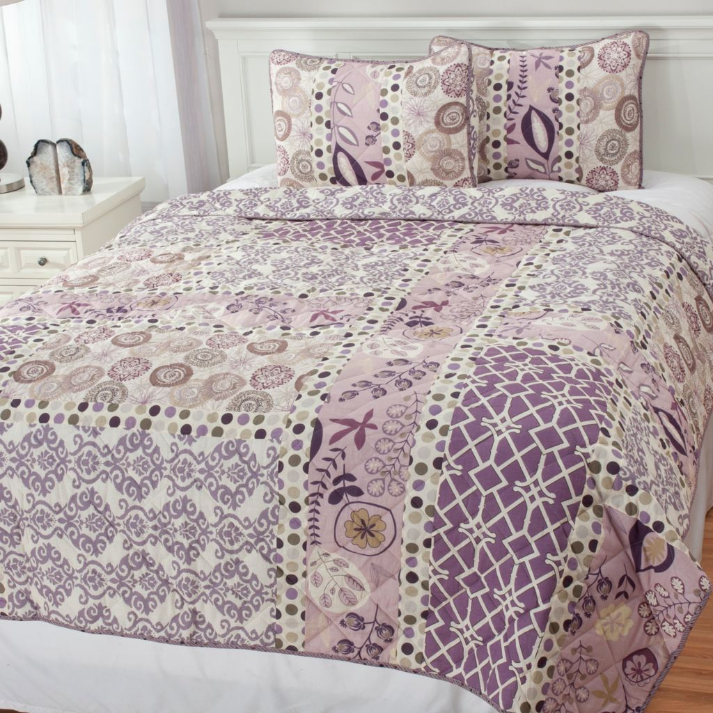 439-569 - North Shore Linens™ Multi Pattern Quilted Three-Piece Coverlet Set