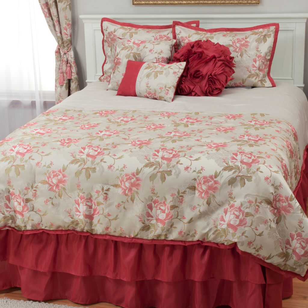 439-570 - North Shore Linens™ Rose Jacquard Seven-Piece Bedding Ensemble