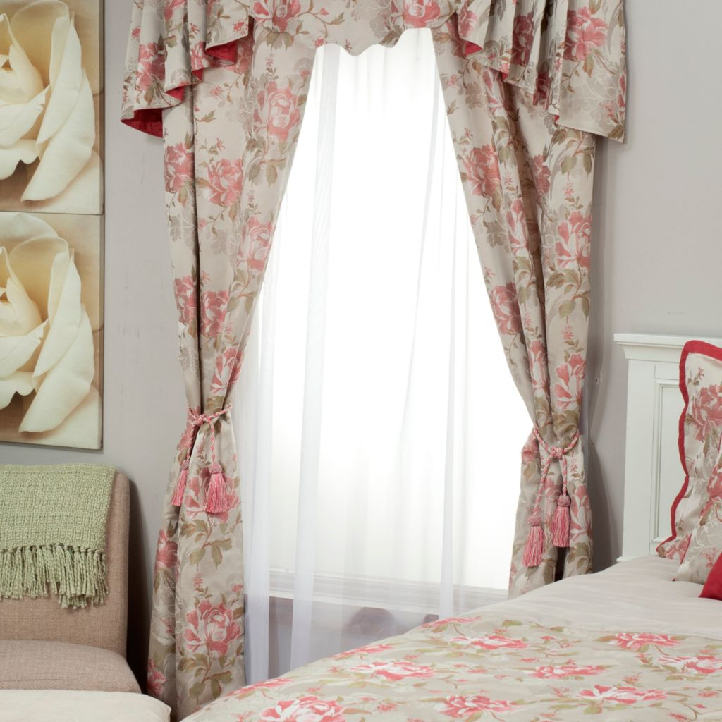 439-571 - North Shore Linens™ Rose Jacquard Window Panel Pair