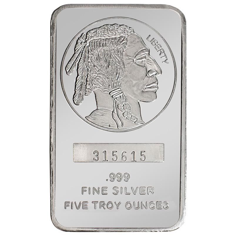 439-592 - 2013 Silver 5 Troy Oz Buffalo Replica Bar