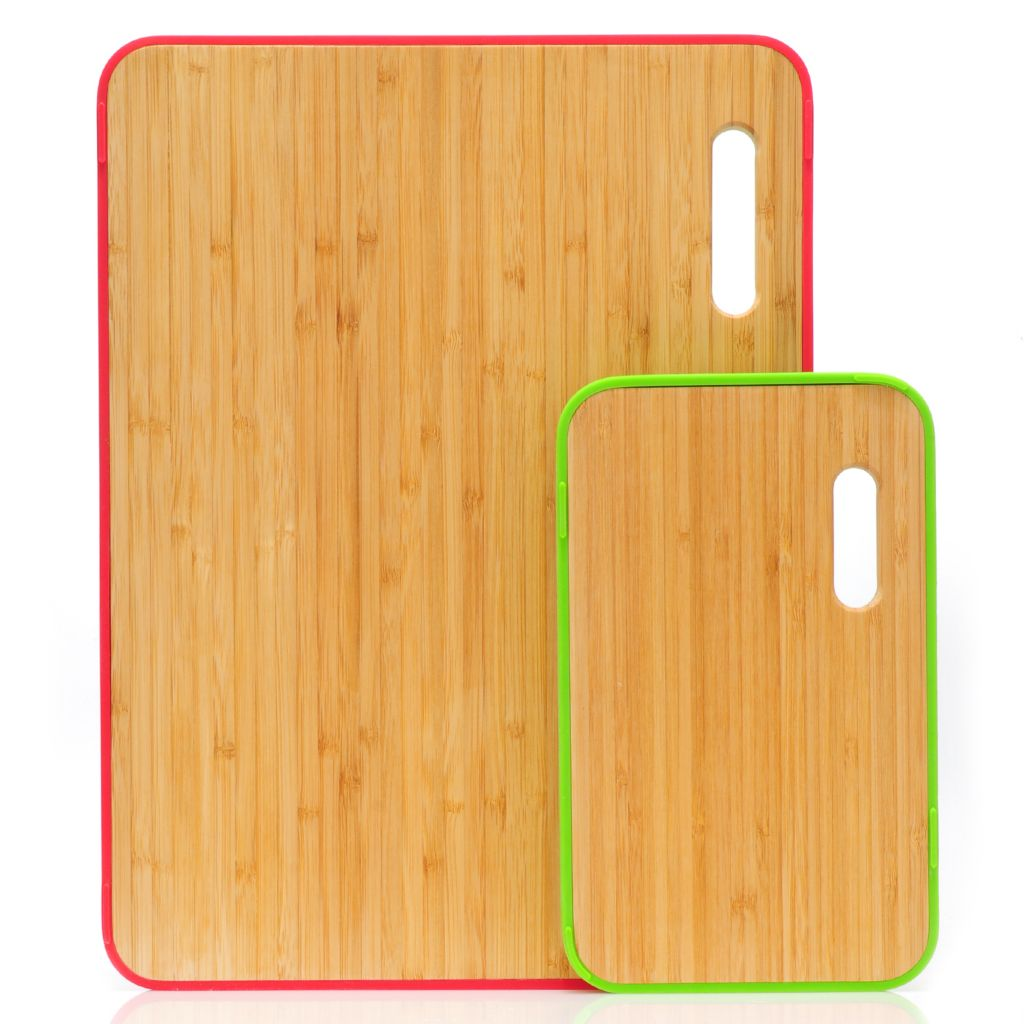 439-599 - MangoLeaf® Band® Set of Two Bamboo Cutting Boards w/ Silicone Bands