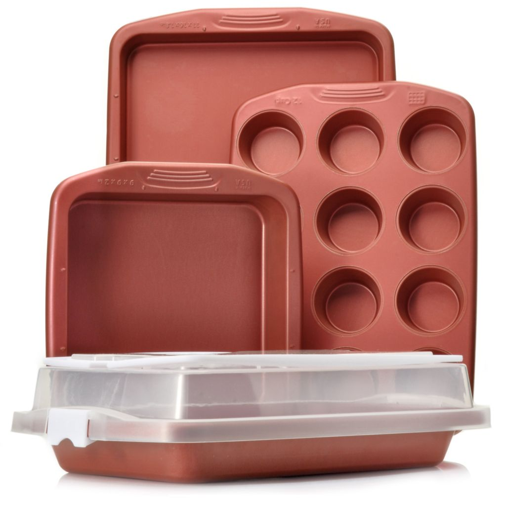 439-616 - Cook's Companion™ Five-Piece Color Nonstick Bakeware & Carrying Cover Set