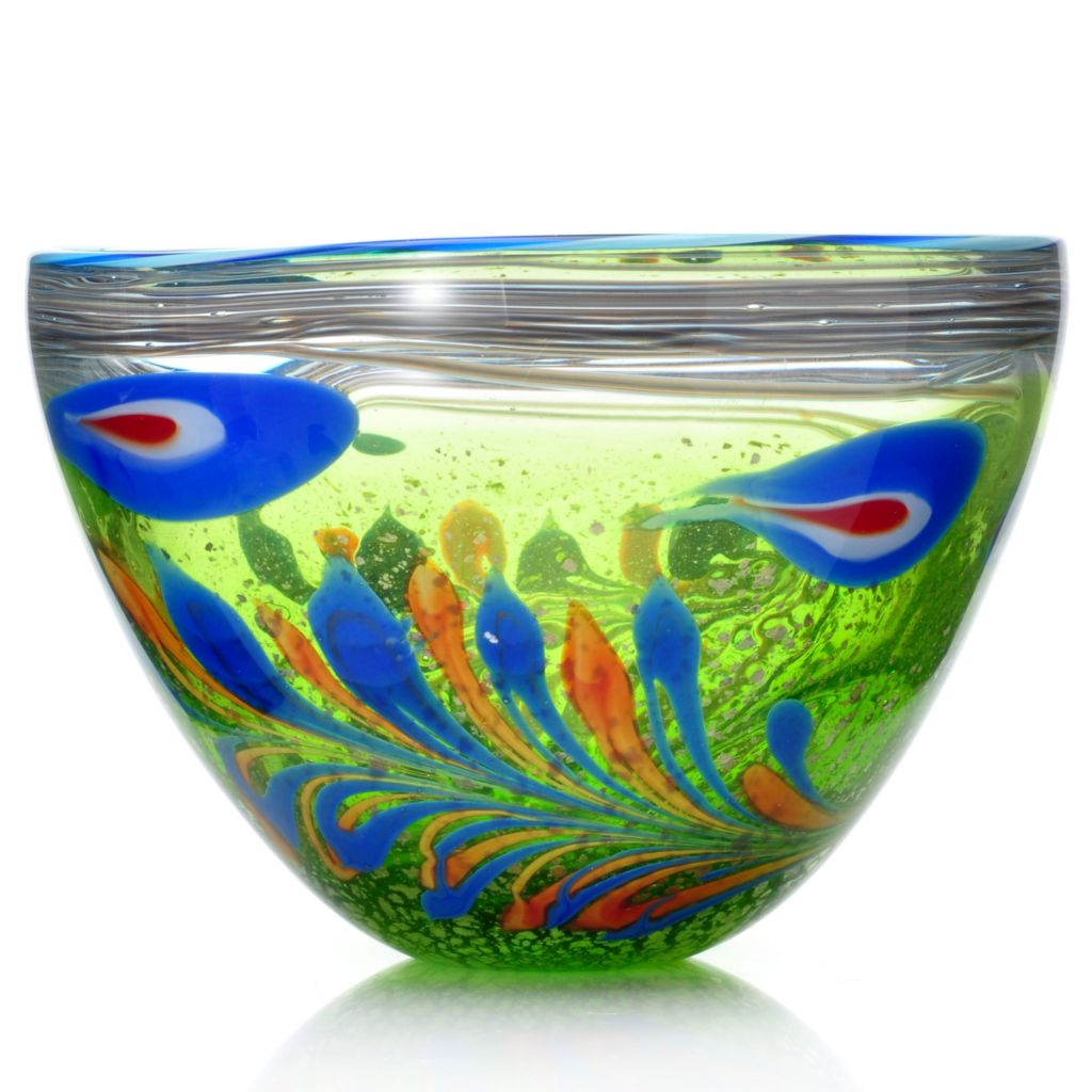 "439-631 - Favrile 12.5"" Hand-Blown Art Glass Feather Bowl"