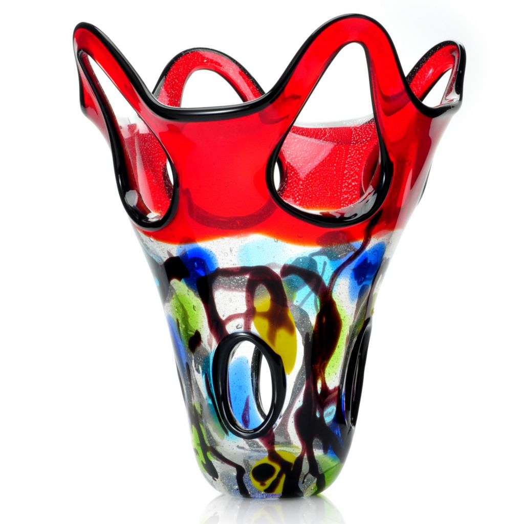 "439-632 - Favrile 11.5"" Hand-Blown Art Glass Tank Top Vase"