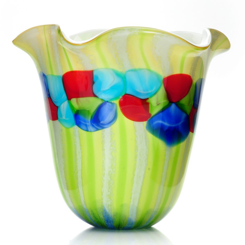 "439-635 - Favrile 11"" Hand-Blown Art Glass Argentina Ruffle Vase"