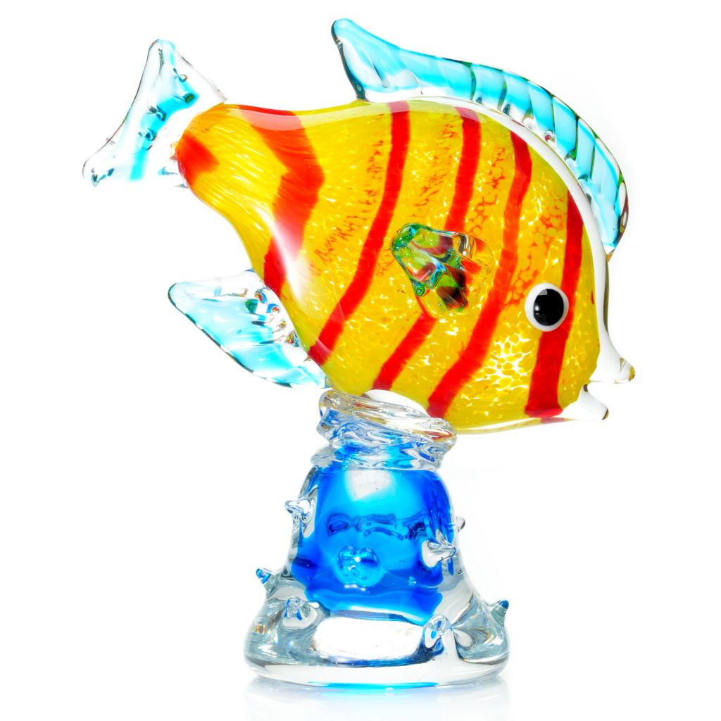 "439-638 - Favrile 10.5"" Hand-Blown Art Glass Clown Fish Sculpture"