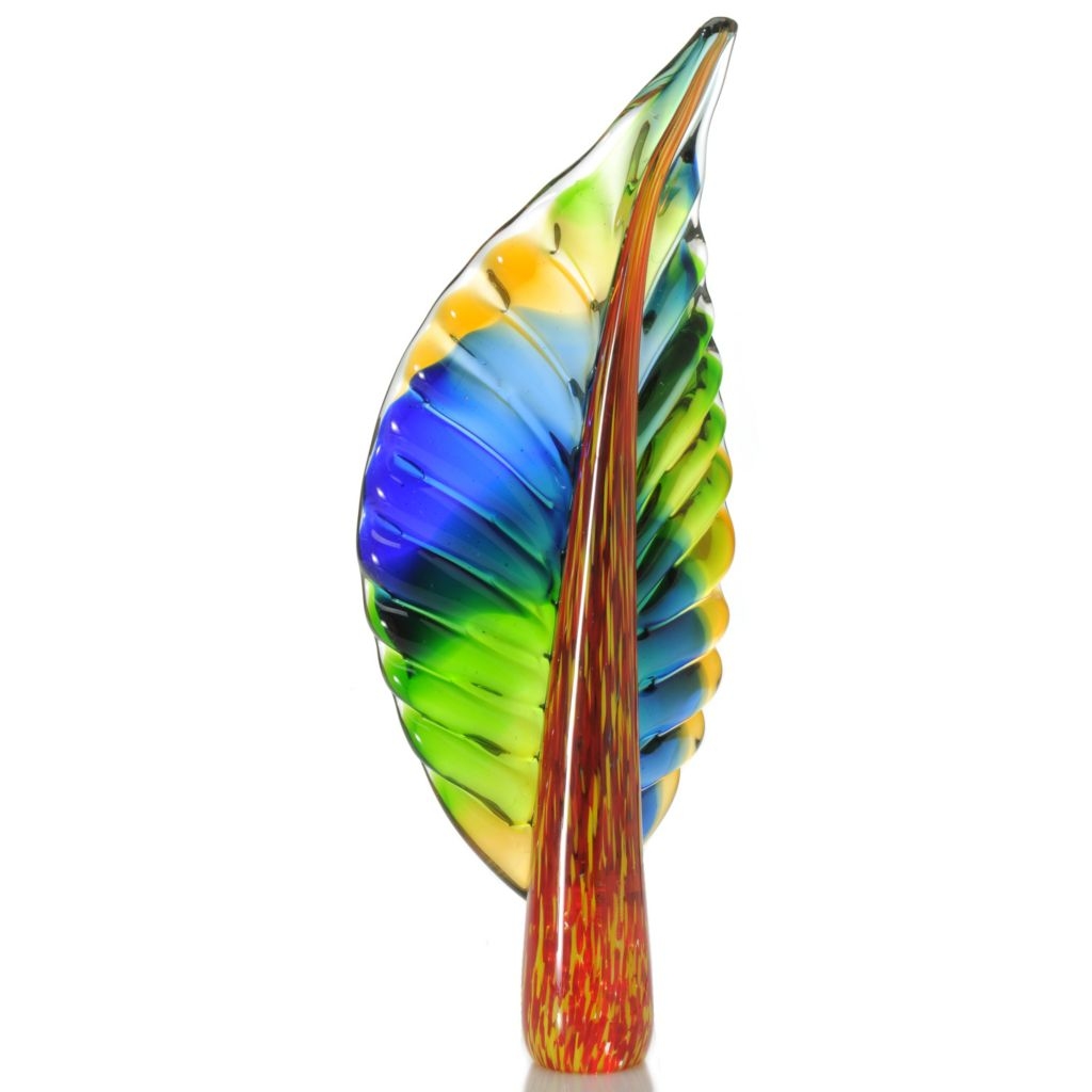 "439-639 - Favrile 17.5"" Hand-Blown Art Glass Parrot Feather Sculpture"