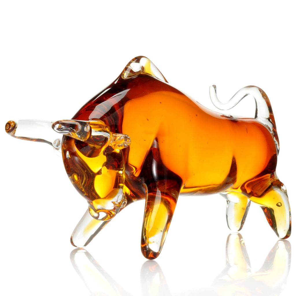 "439-640 - Favrile 9"" Hand-Blown Art Glass Charging Bull Sculpture"
