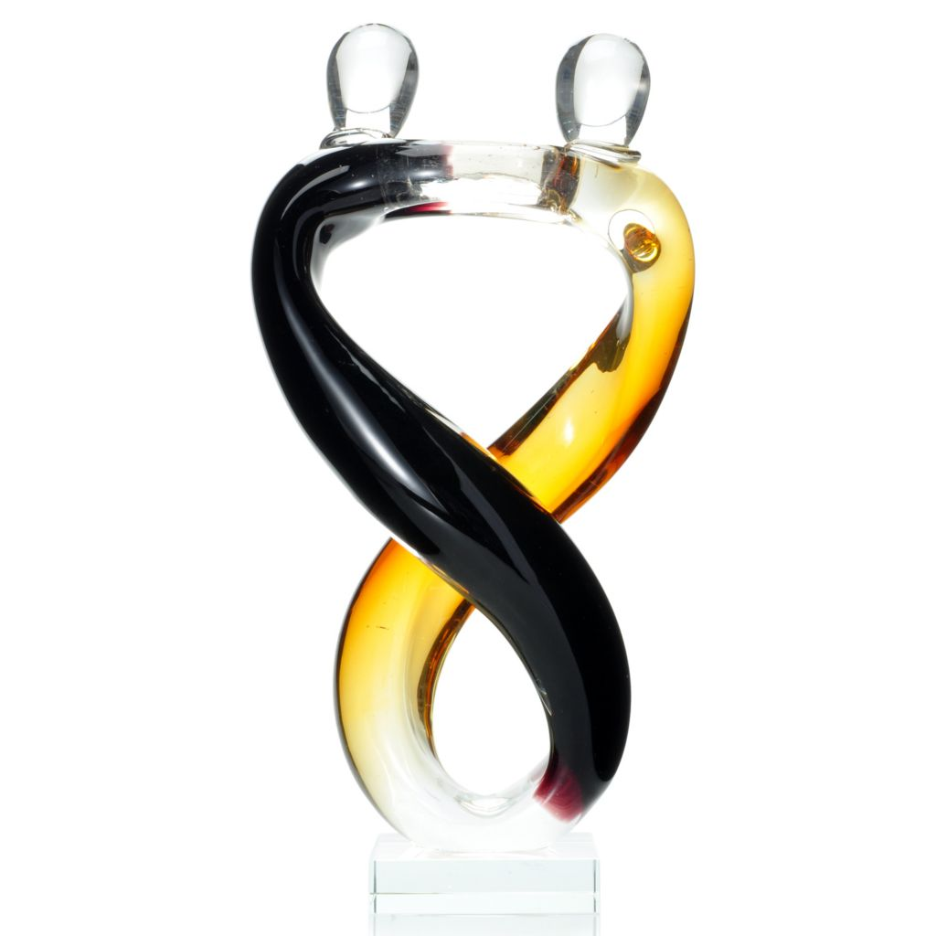 "439-642 - Favrile 12.25"" Hand-Blown Art Glass Waltzing Dancers Sculpture"