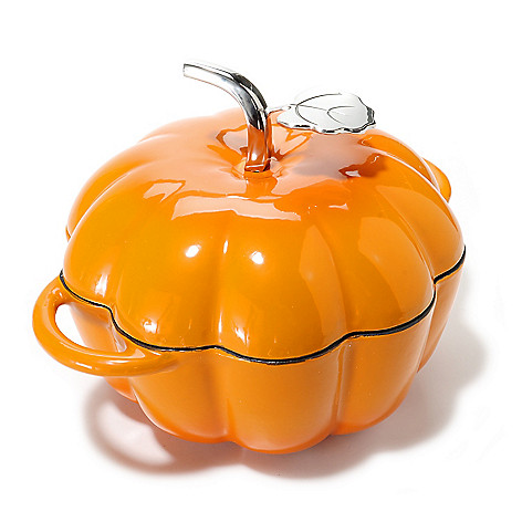 439-644 - Cook's Tradition™ Enamel Finished 3 qt Cast Iron Pumpkin Pot w/ Lid