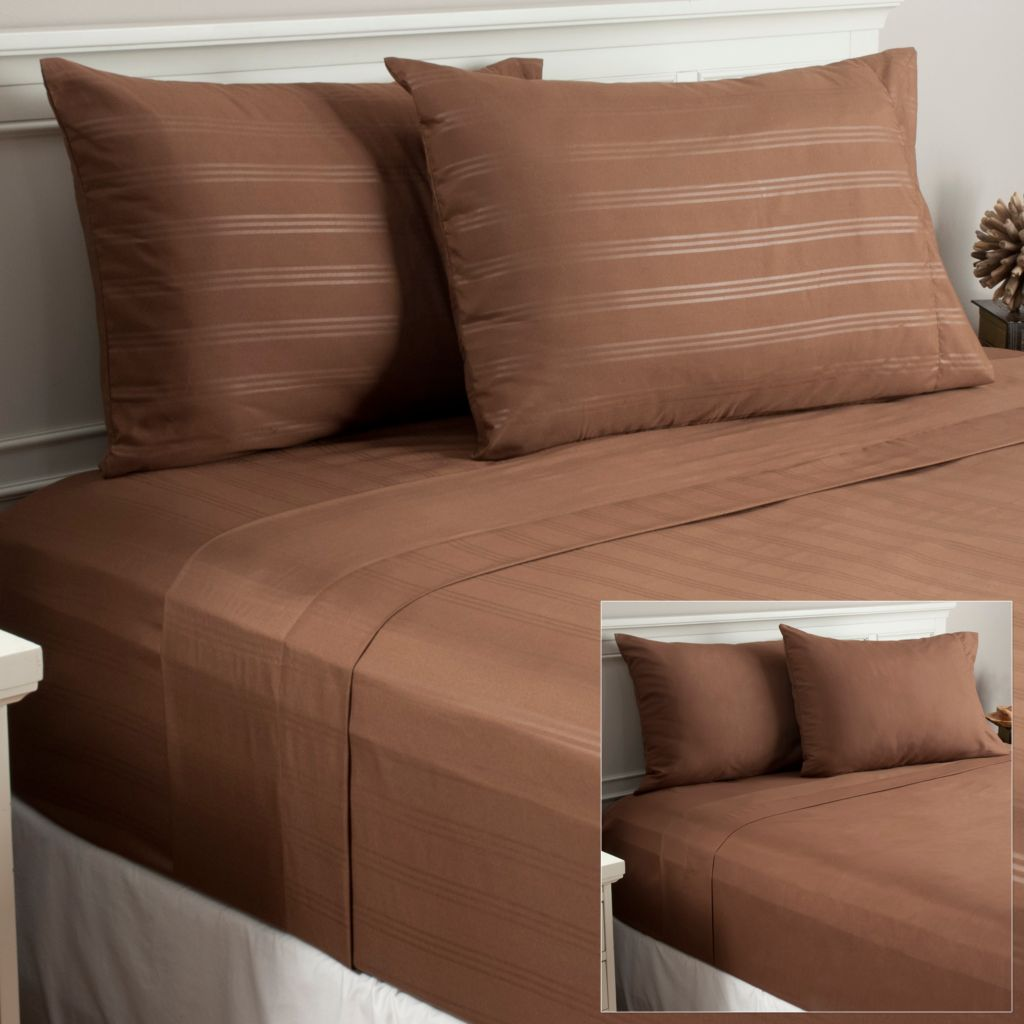 439-649 - Cozelle® Set of Two Microfiber Stripe Four-Piece Sheet Sets