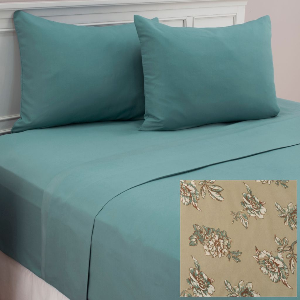 439-650 - Cozelle® Set of Two Microfiber Floral Four-Piece Sheet Sets