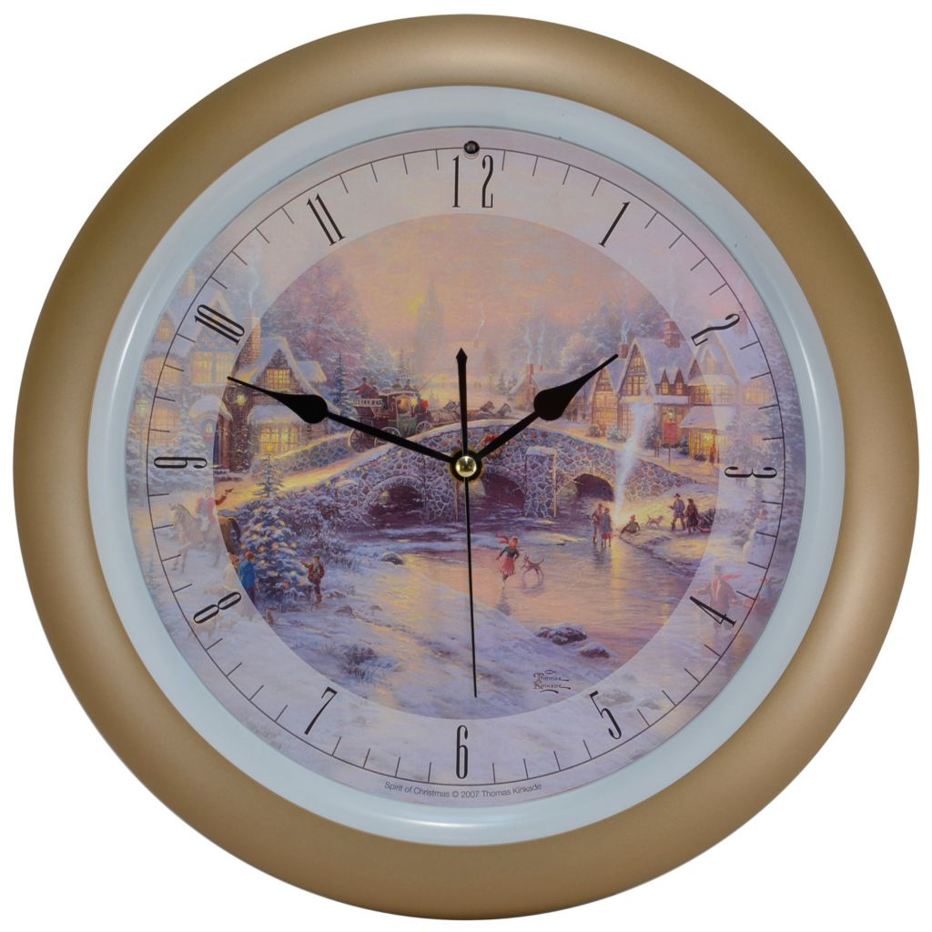 "439-652 - Thomas Kinkade 13.5"" Holiday Wall Clock w/ Hourly Christmas Carols"