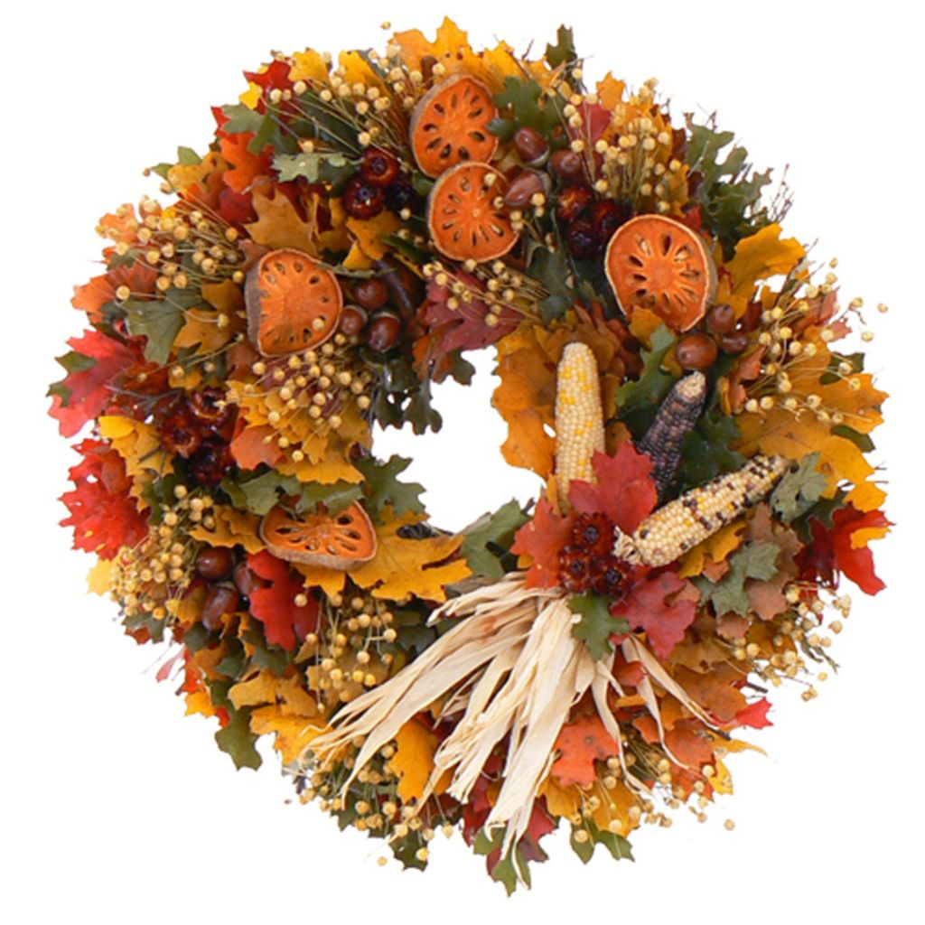 439-670 - Christmas Tree Company Pilgirm's Bounty Dried Floral Wreath