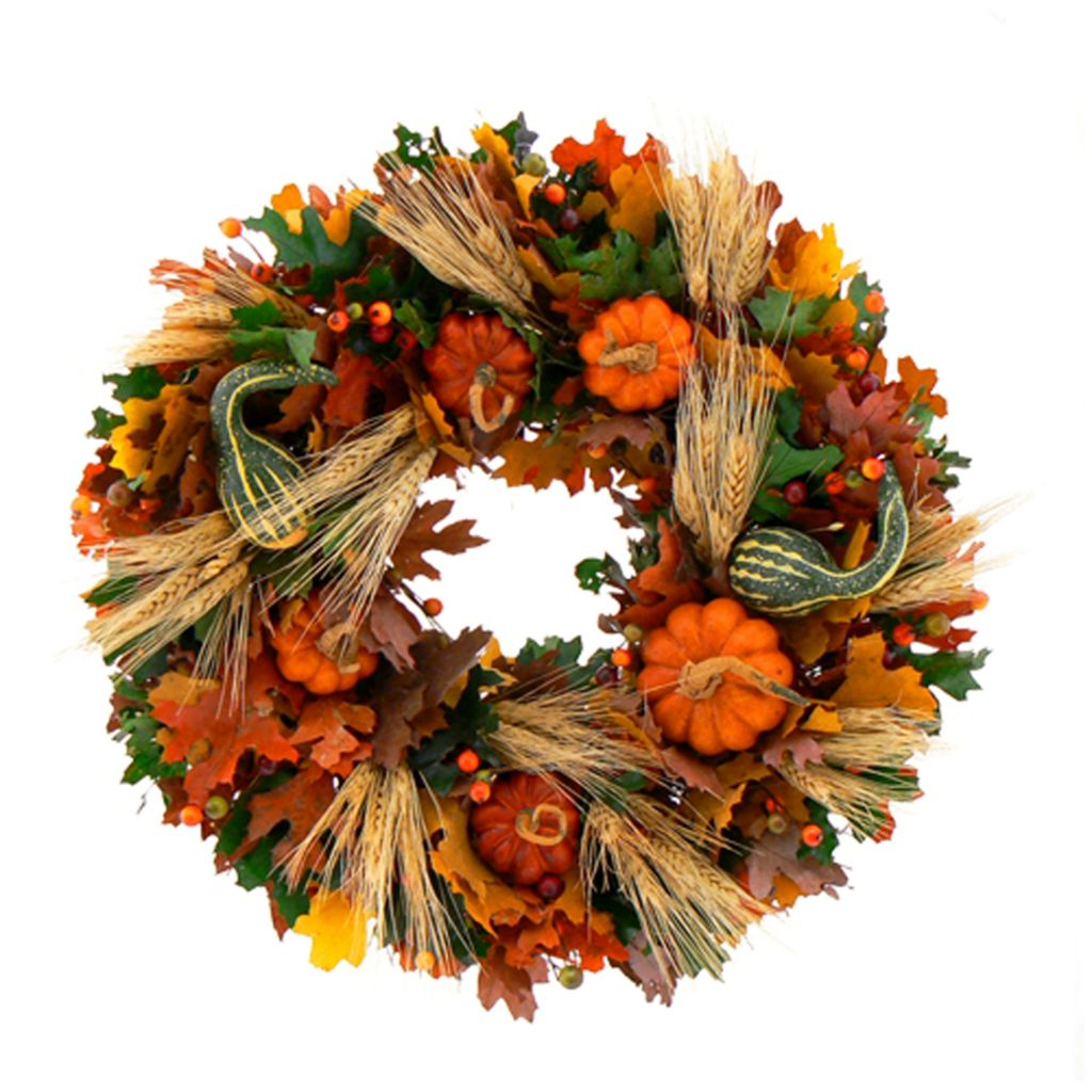 439-671 - Christmas Tree Company Joyful Pumpkin Dried Floral Wreath