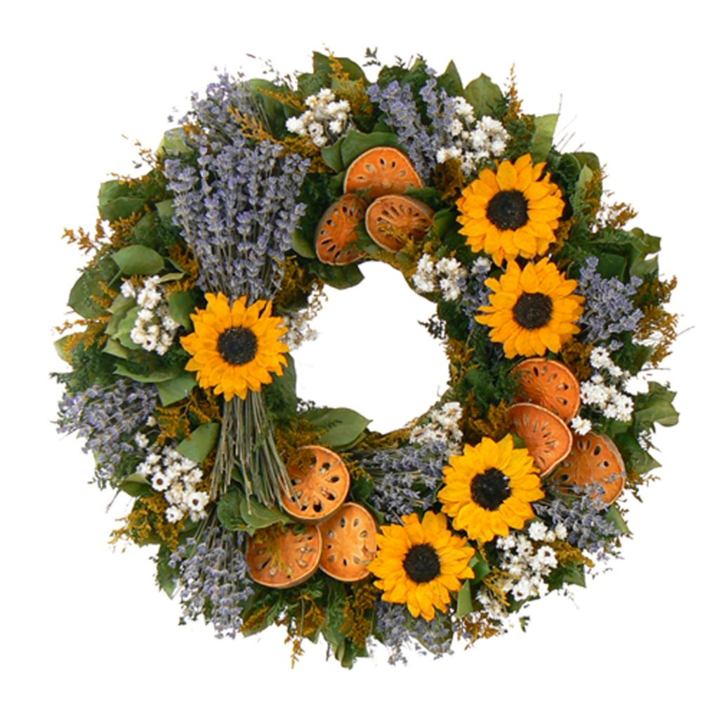439-672 - Christmas Tree Company Sunflower Quince Dried Flroal Wreath
