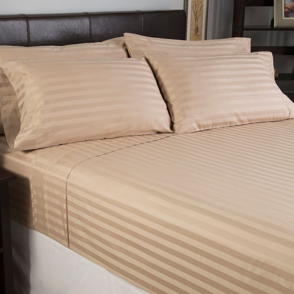 439-680 - North Shore Linens™ 800TC 100% Cotton Sateen Striped Six-Piece Sheet Set
