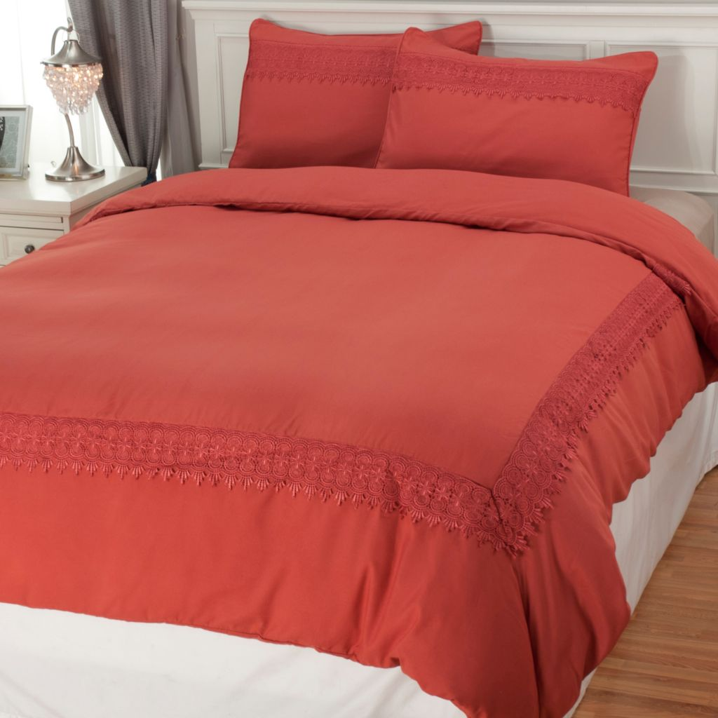 439-706 - Cozelle® Microfiber Lace Embroidered Three-Piece Duvet Set
