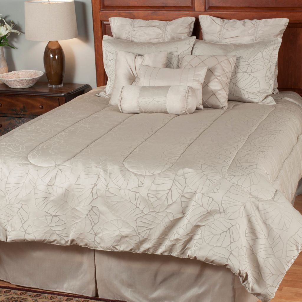 439-709 - North Shore Linens™ Leaf Jacquard 10-Piece Bedding Ensemble